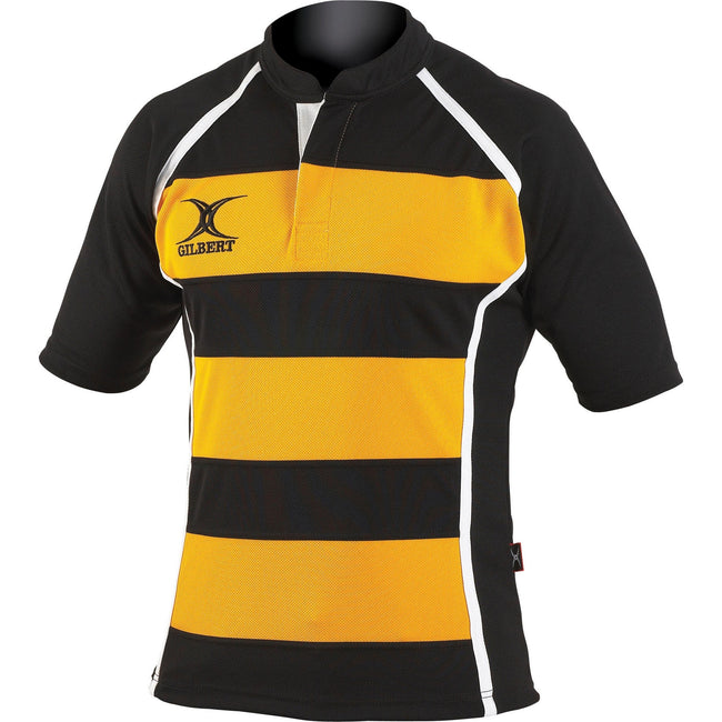 Black - Front - Gilbert Rugby Childrens-Kids Xact Match Short Sleeved Rugby Shirt