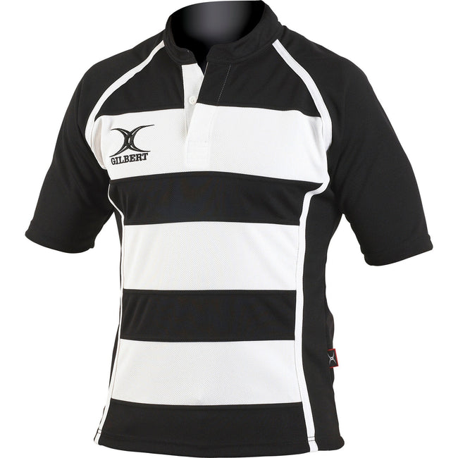 Black- White Hoops - Front - Gilbert Rugby Childrens-Kids Xact Match Short Sleeved Rugby Shirt