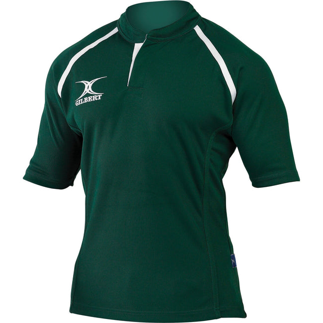 Green - Front - Gilbert Rugby Childrens-Kids Xact Match Short Sleeved Rugby Shirt