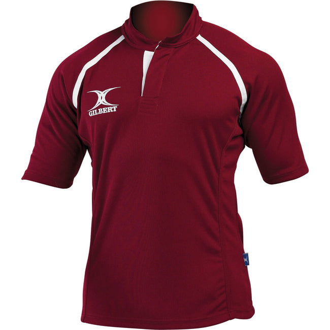 Maroon - Front - Gilbert Rugby Childrens-Kids Xact Match Short Sleeved Rugby Shirt