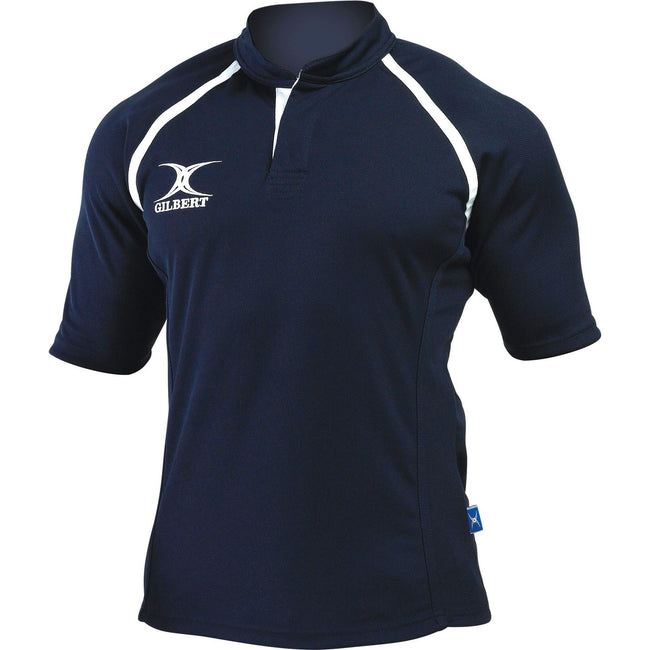 Navy - Front - Gilbert Rugby Childrens-Kids Xact Match Short Sleeved Rugby Shirt