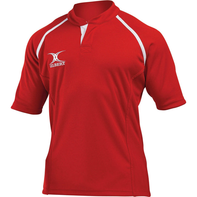 Red - Front - Gilbert Rugby Childrens-Kids Xact Match Short Sleeved Rugby Shirt