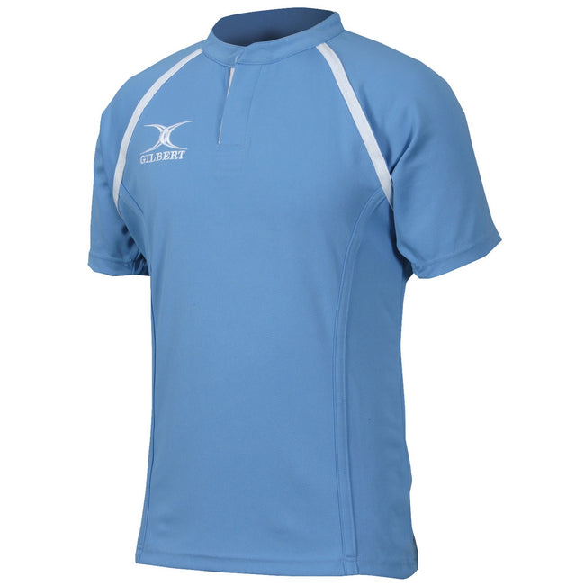 Sky - Front - Gilbert Rugby Childrens-Kids Xact Match Short Sleeved Rugby Shirt