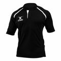 Black- Amber Hoops - Front - Gilbert Rugby Childrens-Kids Xact Match Short Sleeved Rugby Shirt