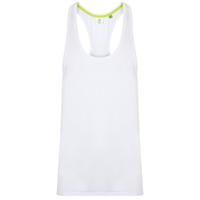 White - Front - Tombo Mens Muscle Vest