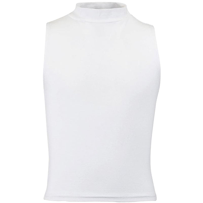 White - Front - Skinni Minni Childrens Girls High Neck Crop Vest
