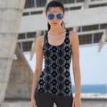 Charcoal-Bright Aztec - Front - Skinni Fit Womens-Ladies Reversible Workout Vest