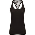 Black-Print - Back - Skinni Fit Womens-Ladies Reversible Workout Vest