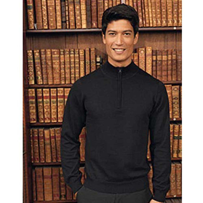 Charcoal - Front - Premier Mens 1-4 Zip Neck Knitted Sweater