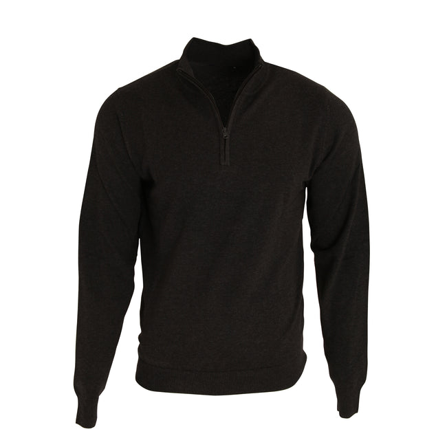 Black - Front - Premier Mens 1-4 Zip Neck Knitted Sweater