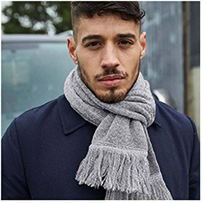 Heather Gray - Side - Beechfield Unisex Classic Knitted Scarf