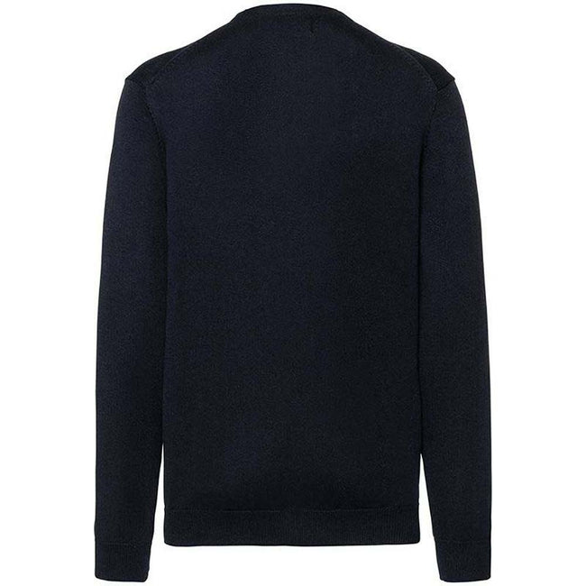 Black - Back - Russell Collection Mens V-neck Knitted Cardigan