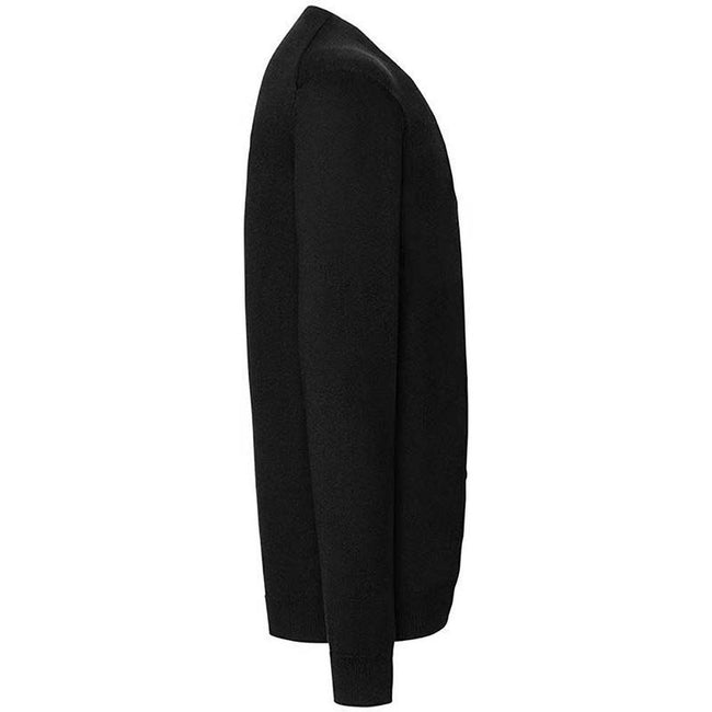 Black - Side - Russell Collection Mens V-neck Knitted Cardigan