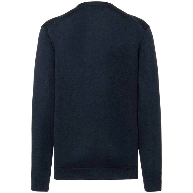 French Navy - Back - Russell Collection Mens V-neck Knitted Cardigan