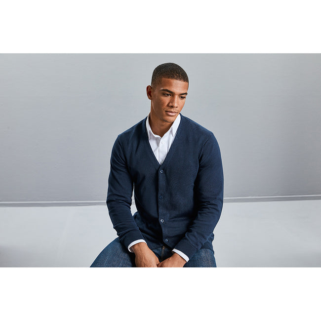 French Navy - Lifestyle - Russell Collection Mens V-neck Knitted Cardigan