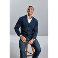 French Navy - Pack Shot - Russell Collection Mens V-neck Knitted Cardigan