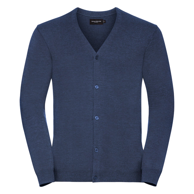 Denim Marl - Front - Russell Collection Mens V-neck Knitted Cardigan