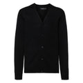 Black - Front - Russell Collection Mens V-neck Knitted Cardigan