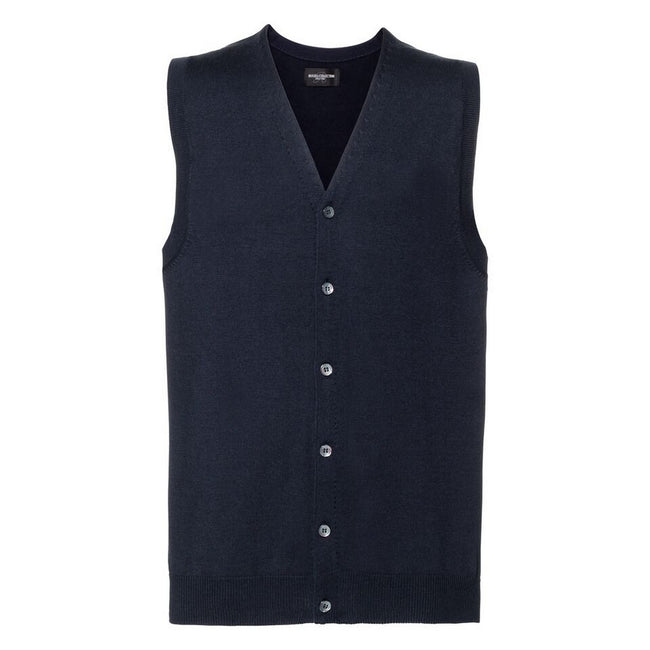 French Navy - Front - Russell Collection Mens V-neck Sleeveless Knitted Cardigan