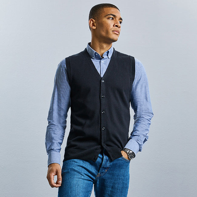 French Navy - Back - Russell Collection Mens V-neck Sleeveless Knitted Cardigan