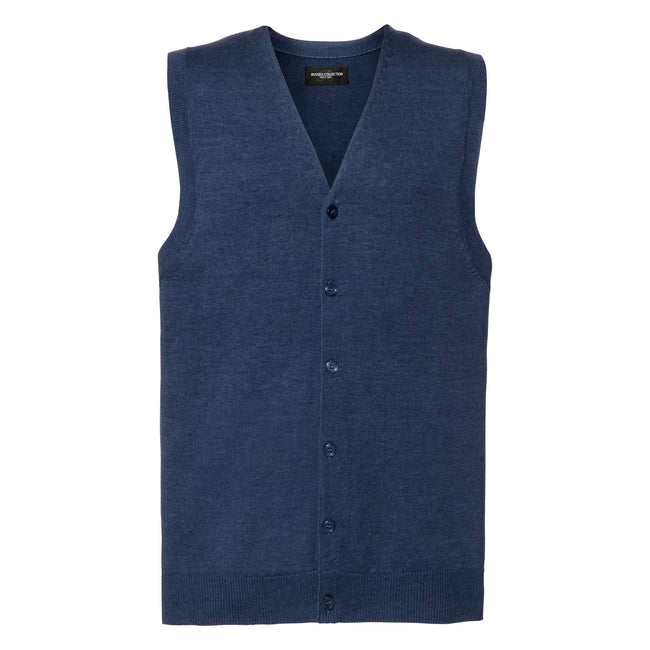 Denim Marl - Front - Russell Collection Mens V-neck Sleeveless Knitted Cardigan