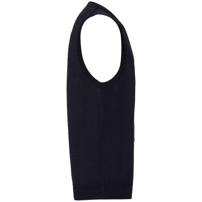 Black - Back - Russell Collection Mens V-neck Sleeveless Knitted Cardigan