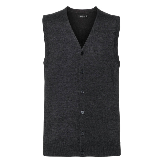 Charcoal Marl - Front - Russell Collection Mens V-neck Sleeveless Knitted Cardigan