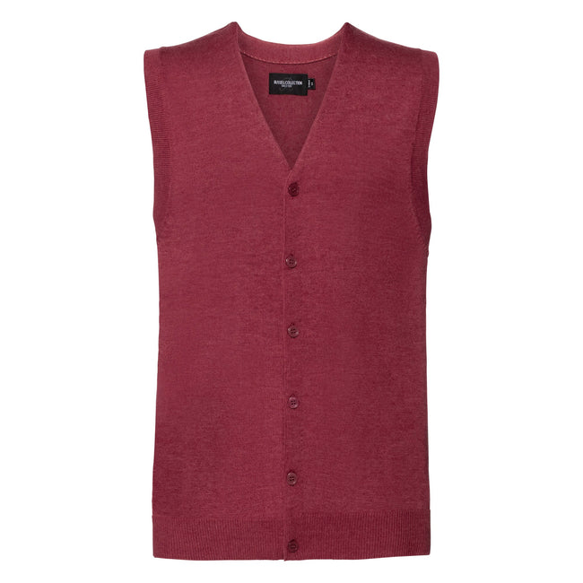 Cranberry Marl - Front - Russell Collection Mens V-neck Sleeveless Knitted Cardigan