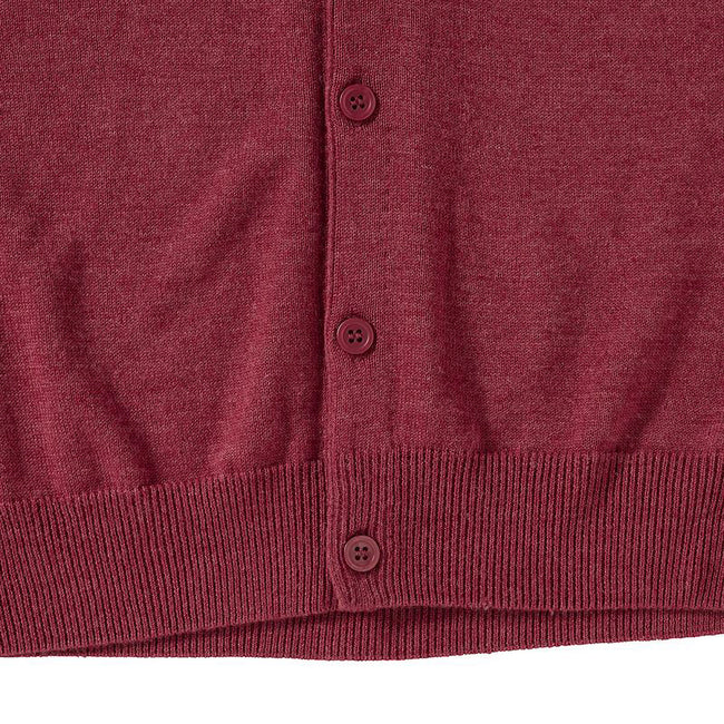 Cranberry Marl - Back - Russell Collection Mens V-neck Sleeveless Knitted Cardigan