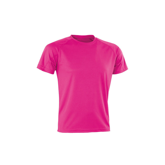 Flo Pink - Front - Spiro Adults Unisex Impact Aircool Tee