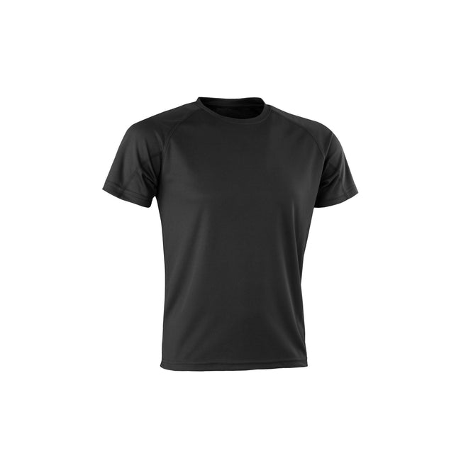 Black - Front - Spiro Adults Unisex Impact Aircool Tee