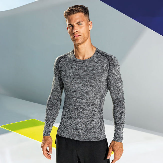 Charcoal - Back - TriDri Mens Seamless 3D Fit Multi Sport Performance Long Sleeve Top