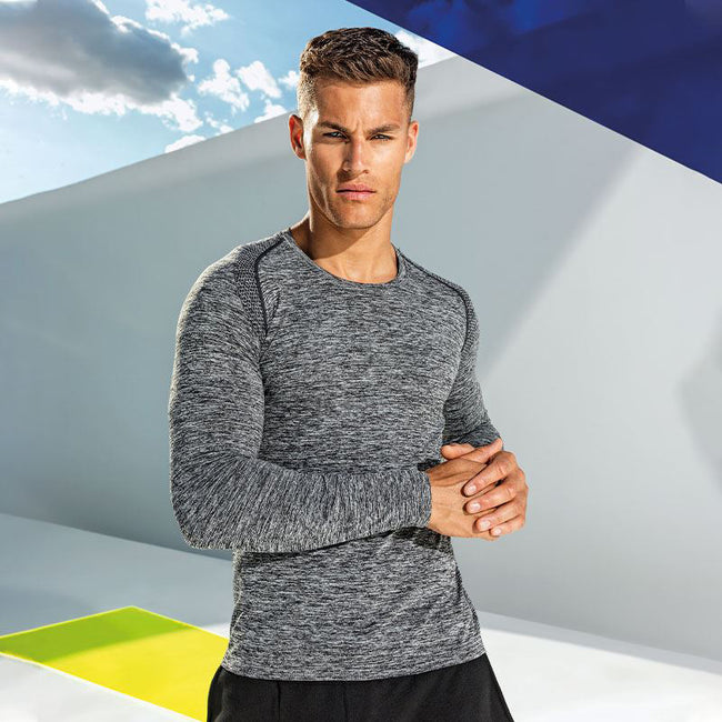 Charcoal - Side - TriDri Mens Seamless 3D Fit Multi Sport Performance Long Sleeve Top