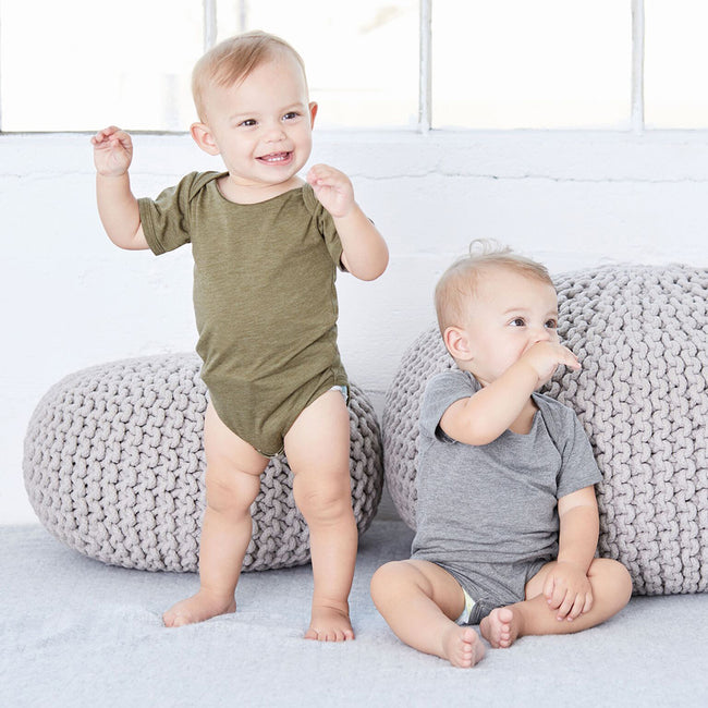 Olive Triblend - Side - Bella + Canvas Unisex Baby Triblend Short Sleeve Onesie