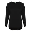Black - Front - Comfy Co Womens-Ladies Gals Oversized Sweatshirt