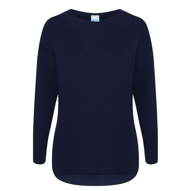 Navy - Front - Comfy Co Womens-Ladies Gals Oversized Sweatshirt