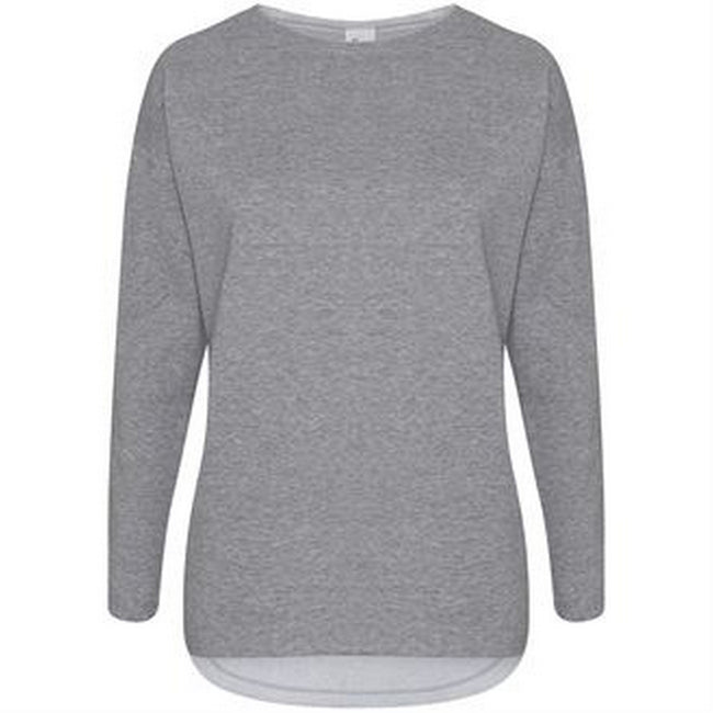 Heather Gray - Front - Comfy Co Womens-Ladies Gals Oversized Sweatshirt