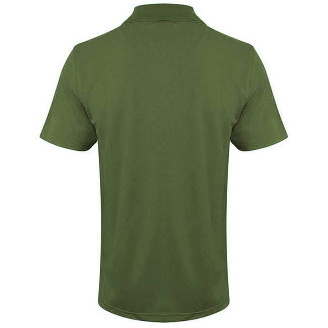 Olive - Back - Henbury Mens Coolplus® Pique Polo Shirt