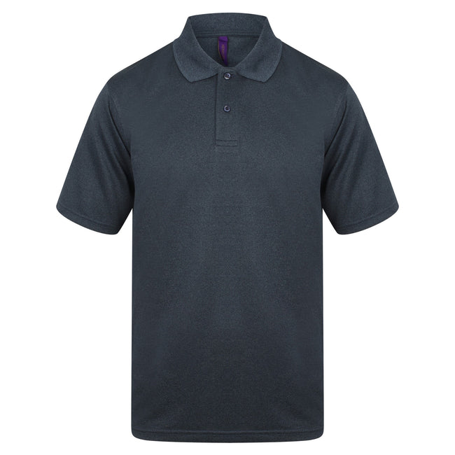 Heather Navy - Front - Henbury Mens Coolplus® Pique Polo Shirt