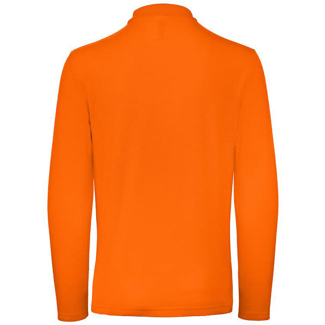 Orange - Back - B&C Collection Mens Long Sleeve Polo Shirt