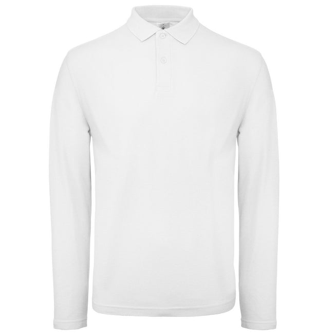 White - Front - B&C Collection Mens Long Sleeve Polo Shirt