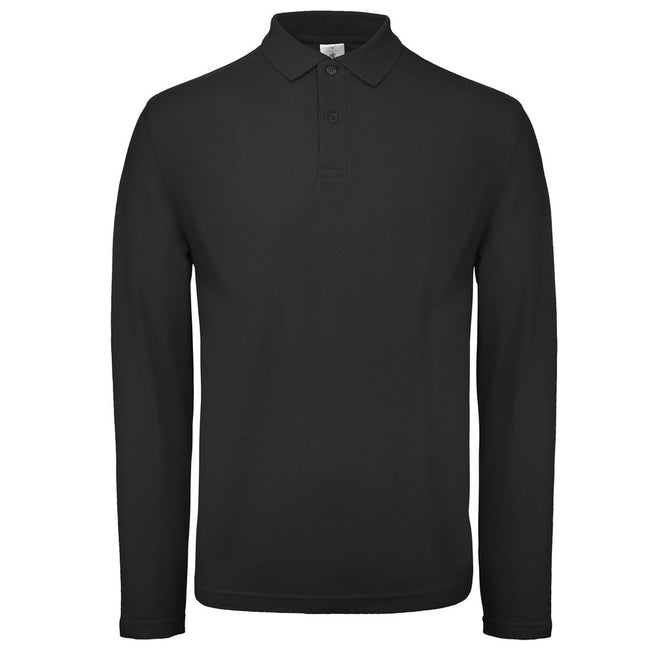 Black - Front - B&C Collection Mens Long Sleeve Polo Shirt