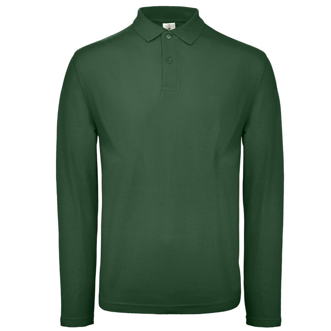 Bottle Green - Front - B&C Collection Mens Long Sleeve Polo Shirt
