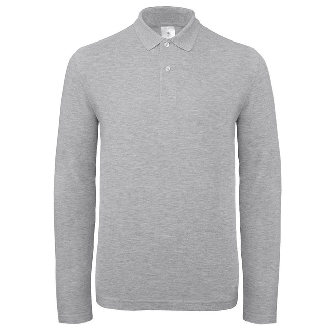 Heather Gray - Front - B&C Collection Mens Long Sleeve Polo Shirt