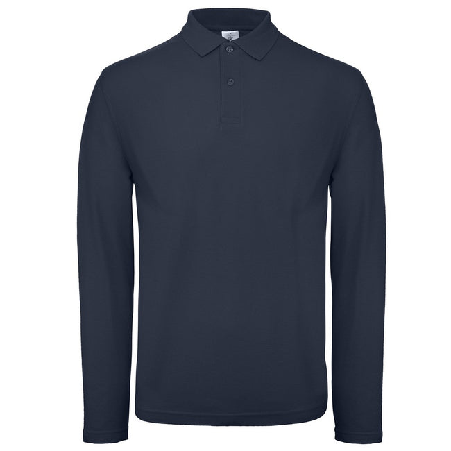 Navy - Front - B&C Collection Mens Long Sleeve Polo Shirt
