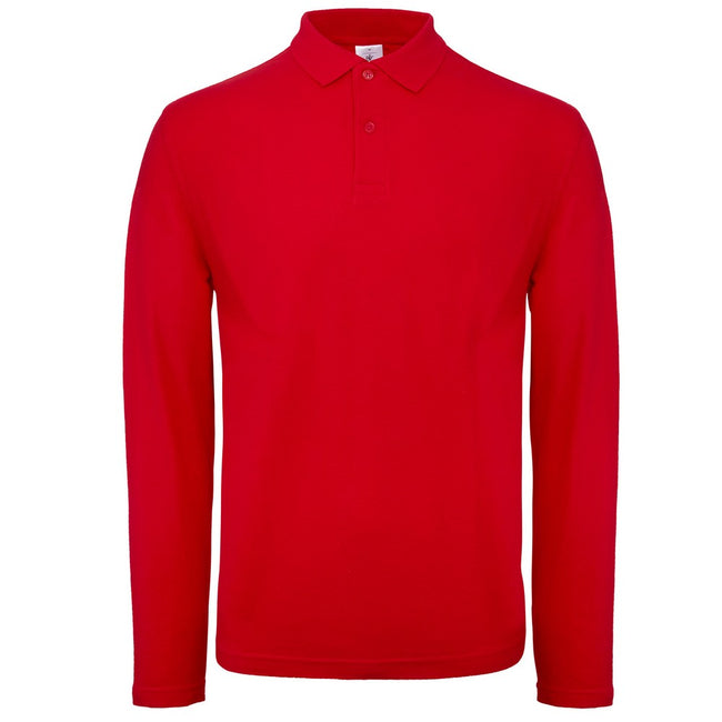 Red - Front - B&C Collection Mens Long Sleeve Polo Shirt