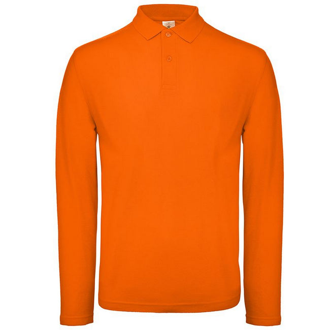 Orange - Front - B&C Collection Mens Long Sleeve Polo Shirt
