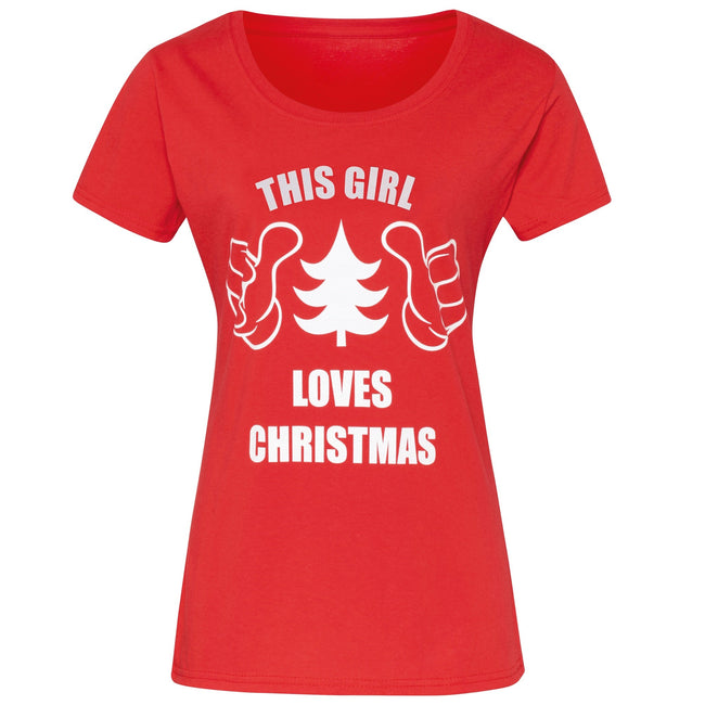 Red - Front - Christmas Shop Womens-Ladies This Girl Loves Christmas Short Sleeve T-Shirt