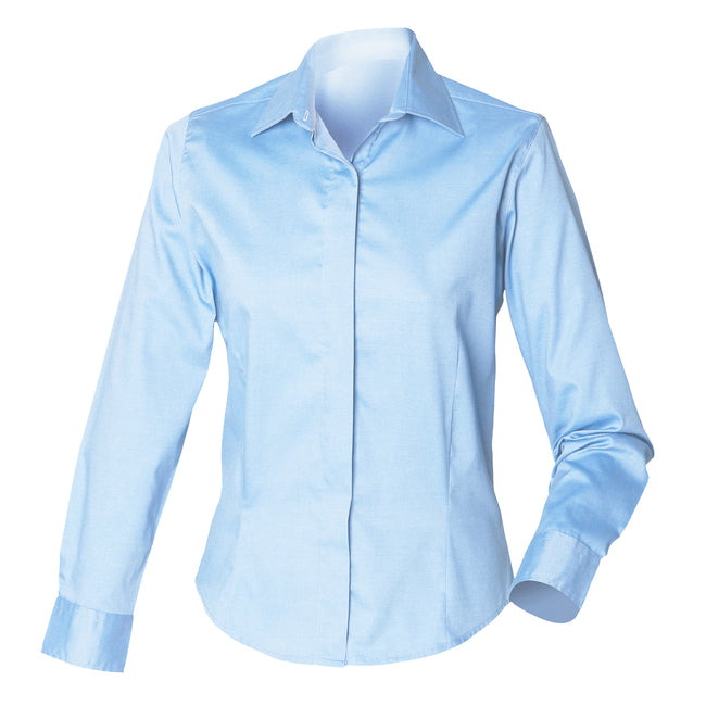 Light Blue - Lifestyle - Henbury Womens-Ladies Long Sleeve Oxford Fitted Work Shirt