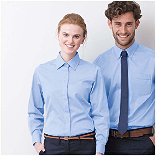 Corporate Blue - Back - Henbury Womens-Ladies Long Sleeve Oxford Fitted Work Shirt